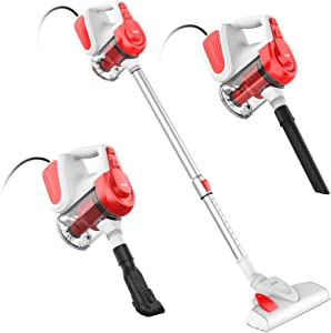 INSE Vacuum Cleaner Corded, Stick Vacuum Cleaner18KPA Powerful Suction Multipurpose 3 in 1 Vacuum with 600W Motor Handheld Vacuum Cleaner I6 Red