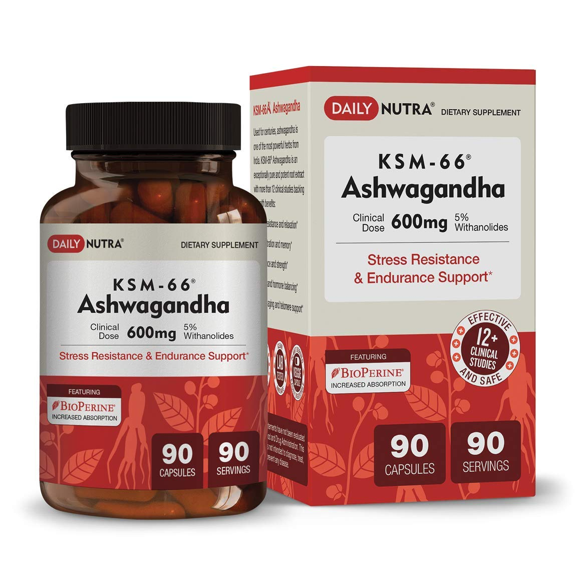 KSM-66 Ashwagandha 600mg – Organic Root Extract – High Potency 5 Withanolides – Health Benefits Include Reduced Stress and Anxiety, Increased Energy and Focus 90 Vegetarian Capsules