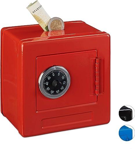 Relaxdays Hucha Caja Fuerte combinación para niños, Hierro-plástico, Rojo, 13.5 x 13 x 9 cm: Amazon.es: Hogar
