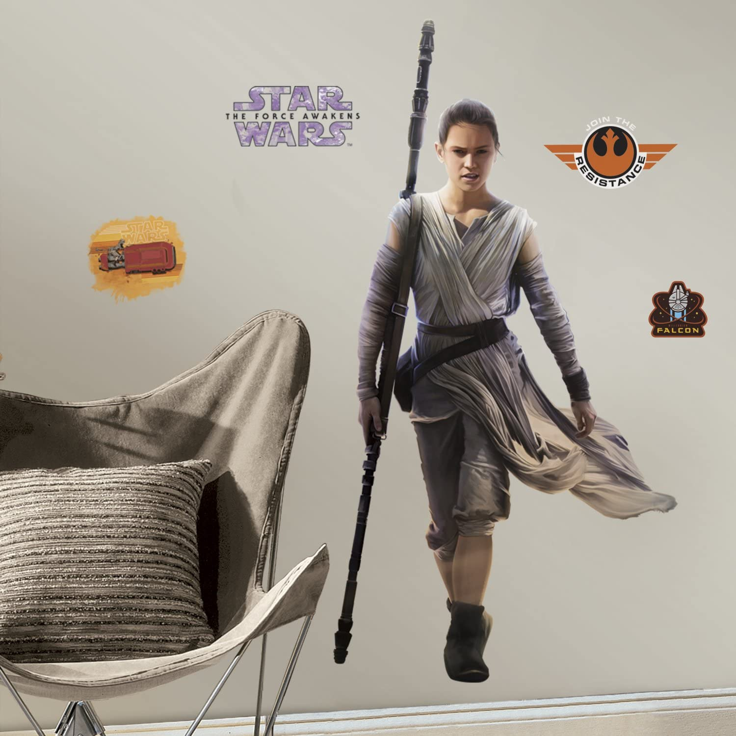 15 New STAR WARS THE FORCE AWAKENS WALL DECALS Rey Kylo Ren Stickers Room Decor