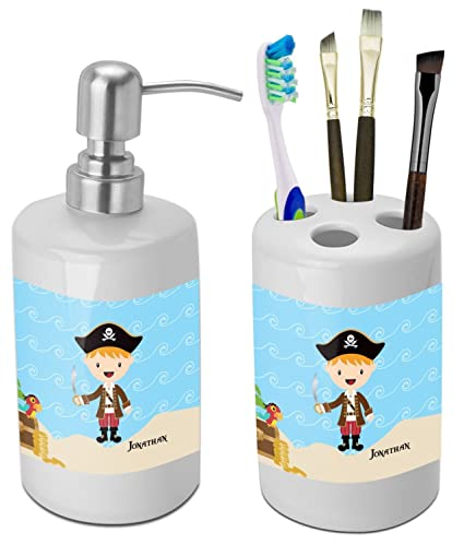 RNK Shops Pirate Scene Bathroom Accessories Set (Ceramic) (Personalized)