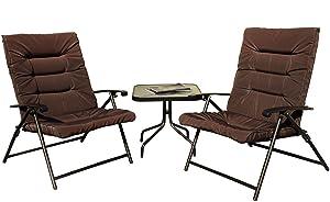 Kozyard Elsa 3 Pieces Outdoor Patio Furniture Padded Folding Bistro-Sets for Yard, Patio, Deck or Backyard(Dark Brown)