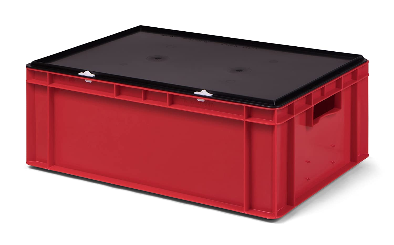 rot mit Verschlu/ßdeckel 600x400x221 mm Lagerbeh/älter//Euro-Transport-Stapelbox KTK 600//210-0 aus PP LxBxH