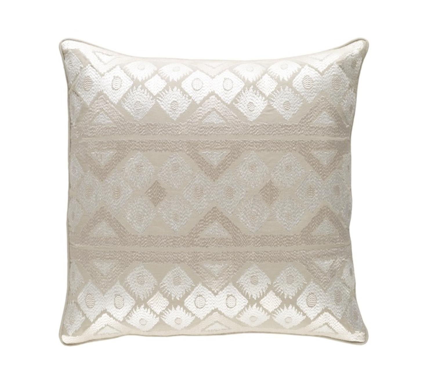 Diva At Home 20'' Linen White and Cream Chevron Decorative Throw Pillow - Down Filler