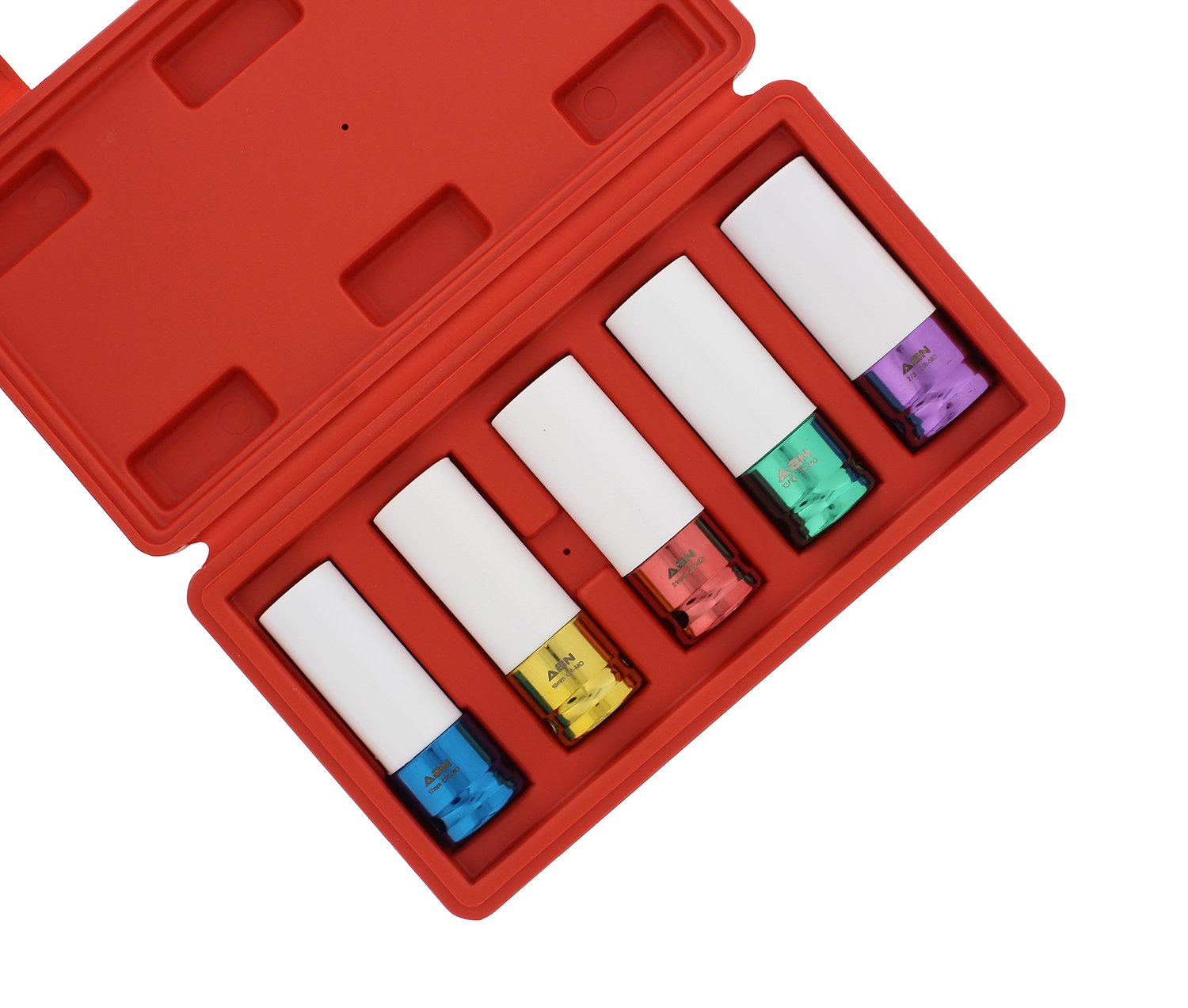 ABN 1/2'' Inch Impact Drive Lug Nut Socket 5-Piece Set - Non-Marring, Color-Coded, Thin-Walled Wheel Rim Protectors