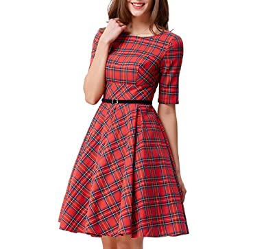 Leisure Vintage Dress Fall Daily Party Retro Dress Midi Vestidos with Belt,257 2 Plaid