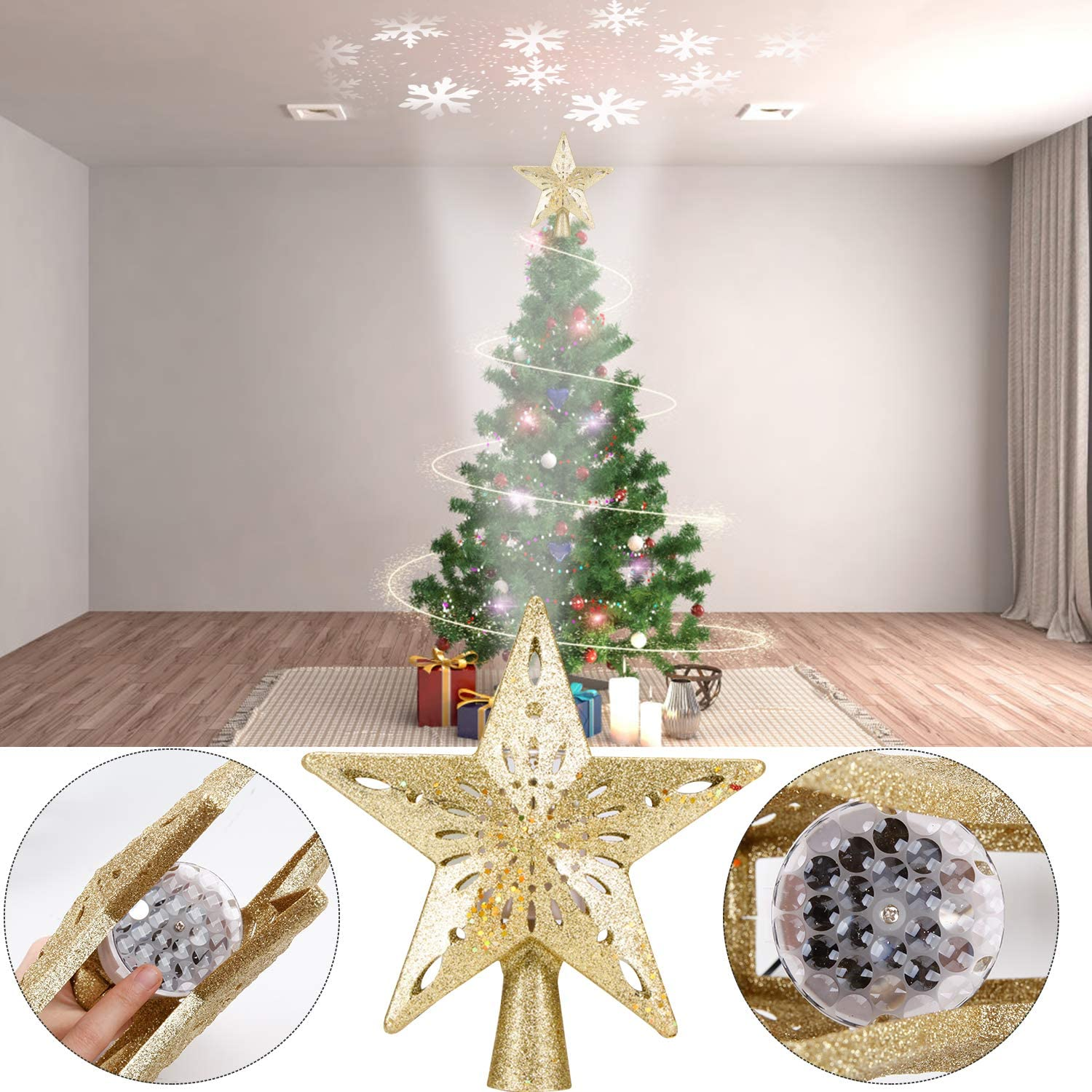 ,3D Hollow Sparkling Silver Silver Christmas Tree Topper Lighted Star