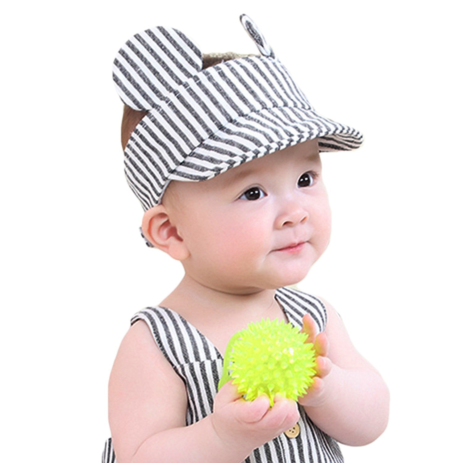 513f9e140bee Baby Summer Sun Hat Cute Casual Peaked Cap Adjustable Striped ...
