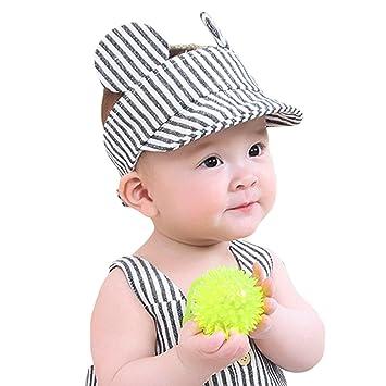 d96da2de5ef3e3 Kids Baby Classic Stripe Hat Baseball Cap Toddler Infants Pure Cotton Hat  Adjustable Peaked Cap Sun Protection Hat Summer Headwear for 3-12 Months  Kids