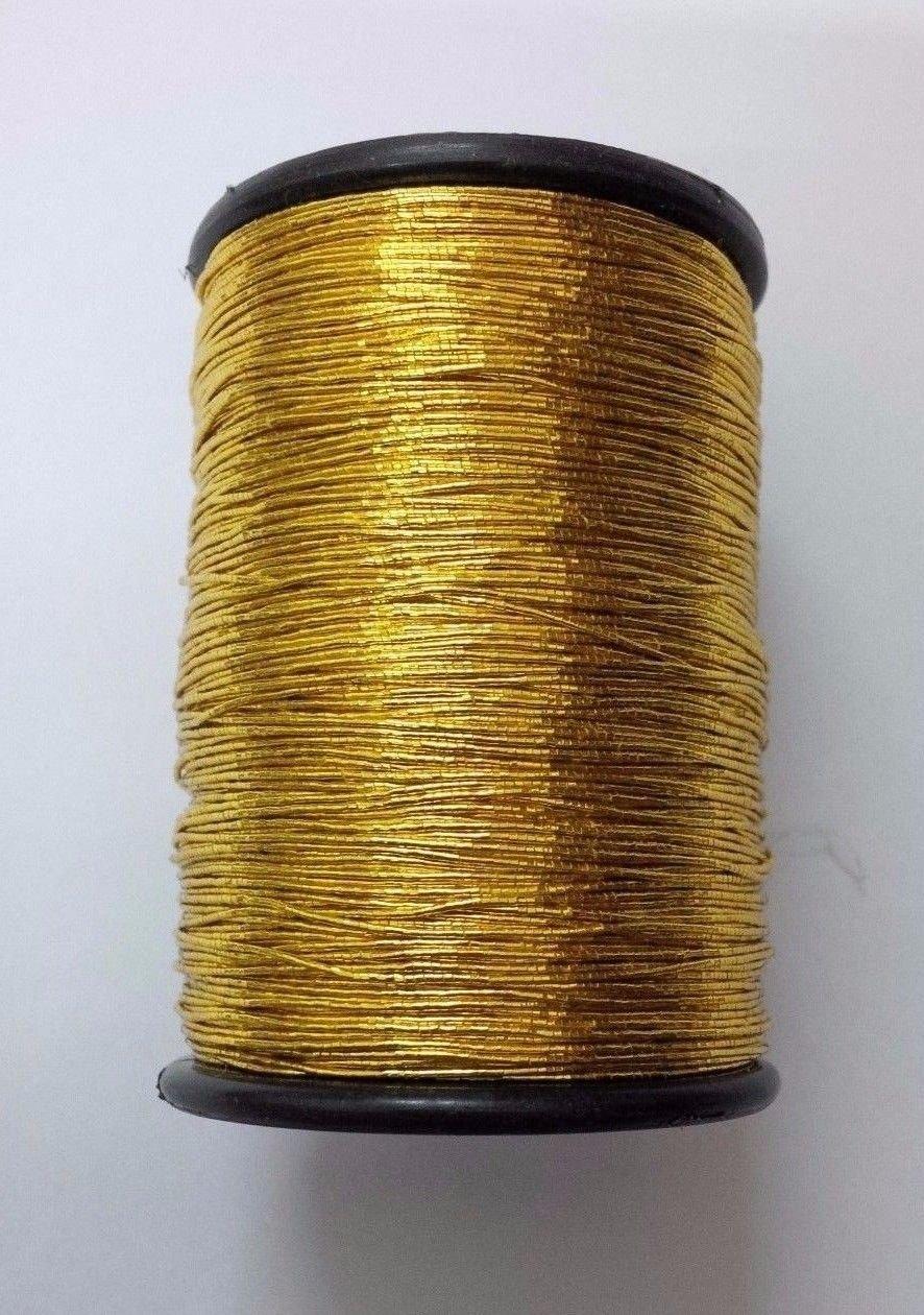 Gold - 120 Yards - Lurex Zari Jari Sparkle Shiny Thread Yarn Cord Dori - for Crochet Jewelry Handicraft Knitting Artwork DIY Desi Hawker