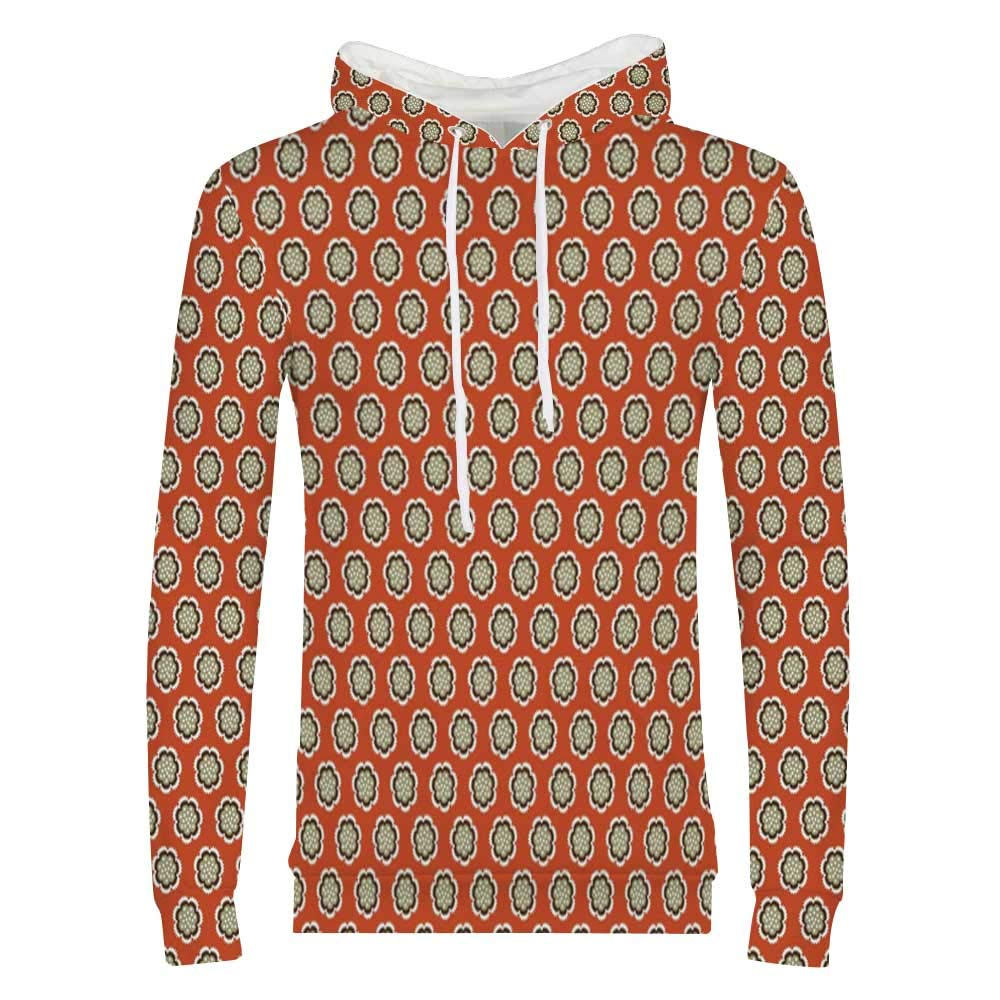 Geometric Sweatshirt,Floral Swirl Oriental Lace Branches Shabby Chic Victorian Classic Pattern Hooded for Men /& Boys,Small