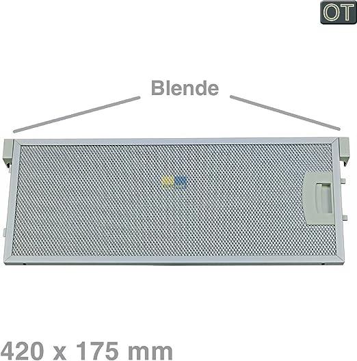 Filtro de rejilla de metal rectangular de metal, 420 x 175 mm, campana extractora original Bosch Siemens Neff 00352812 352812 con desbloqueo unilateral y apertura Constructa Balay.: Amazon.es: Hogar