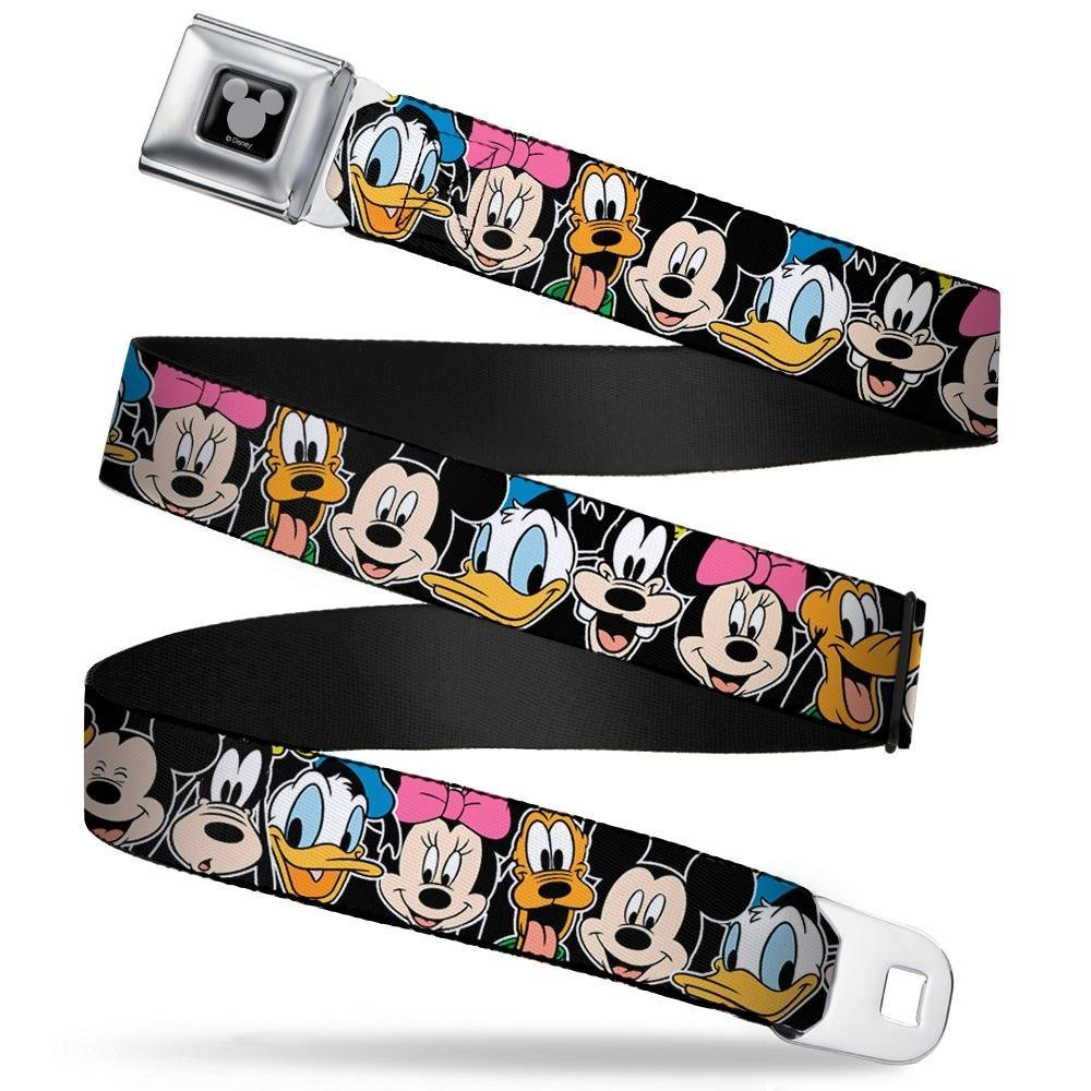 Classic Disney Character Faces Black 1.5 Wide Buckle-Down Seatbelt Belt 32-52 Inches in Length
