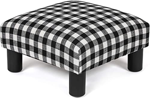 Joveco Ottoman Foot Rest Stool Small Fabric Square Footstool Black-White Plaid