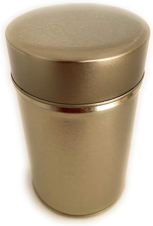 Perfekto24 – Lata de metal – Redonda de chapa con tapa, lata de metal 6,3 x 10,5 cm grande, redonda, vacía, oro, caja de almacenamiento, lata de metal, uso universal: Amazon.es: Hogar