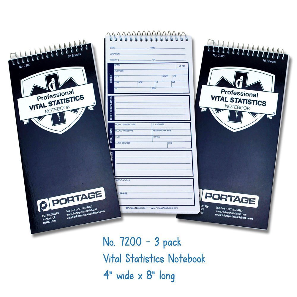 "EMT/First Responders Vital Statistics Notebook – 8"" x 4"" Medical Notebook for Vital Signs and Additional Patient…"