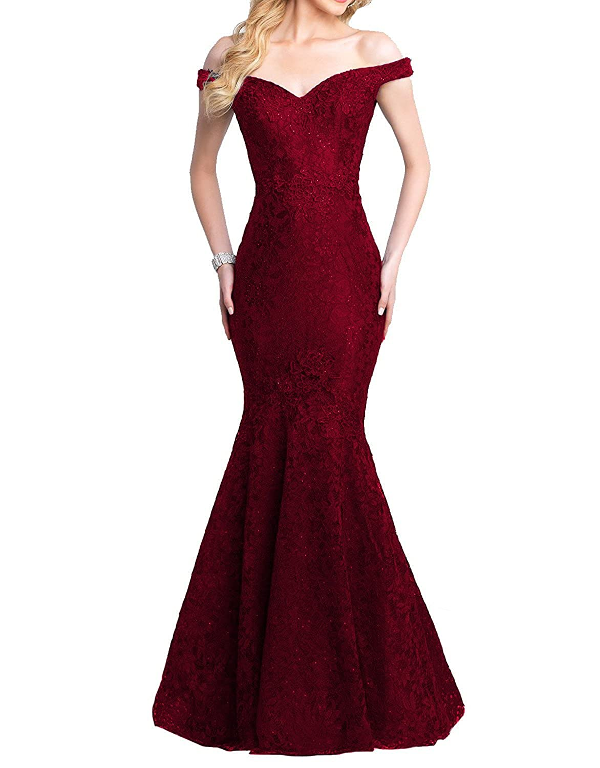 Dark Burgundy Yiweir Women's Mermaid Prom Dresses 2018 Long Lace Beads Sequins Formal Gowns YP039