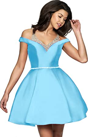 Amazon.com: Women's A-line Cold Shoulder Beaded Satin Prom