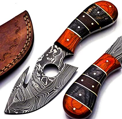 Rare Custom Damascus Gut Hook Skinning Knife Hunting Knife Outdoor Knife Camping Knife Paka Wood Handle With Free Genuine Leather Sheath B 96 Sports Outdoors