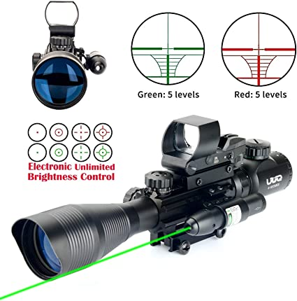 Tactical 4-12X50E Red Green Illuminated Riflescope Red Laser Sight Rifle Scope