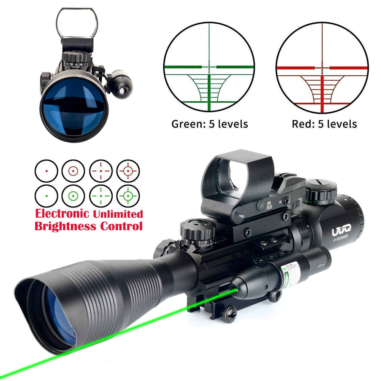 UUQ 4-12X50 Rifle Scope Dual Illuminated Reticle W Green RED Laser Sight and 4 Tactical Holographic Dot Reflex Sight 12 Month Warranty 4-12X50 Green Laser 104 Dot Sight