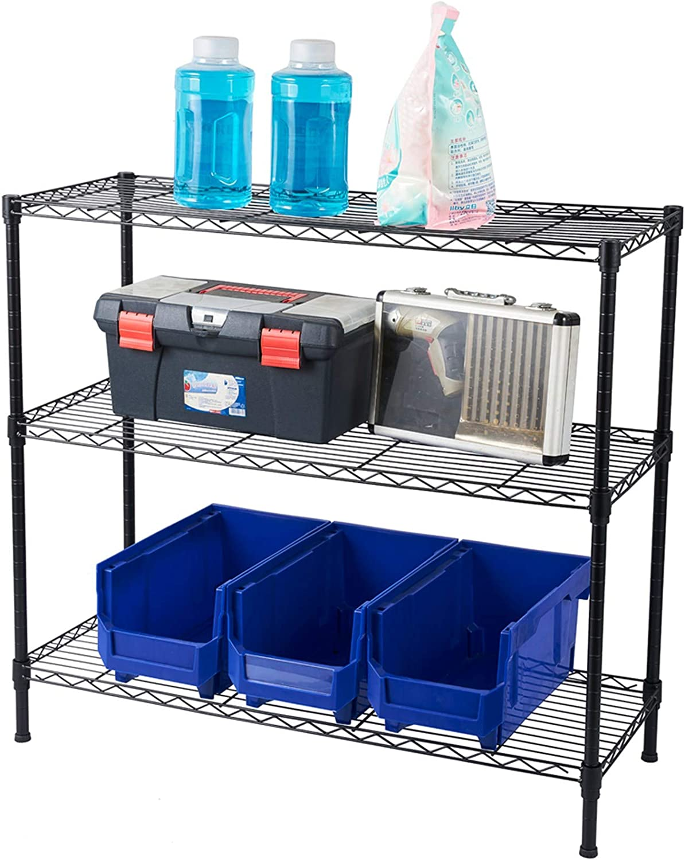 MITPATY 3-Tier Heavy Duty Adjustable Shelving Unit Black - Home Decorative Unit Multi-Use Home Studio Organizer