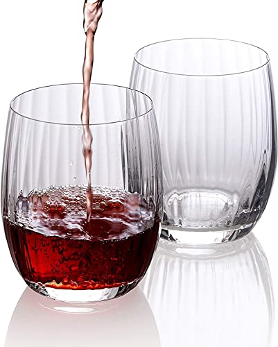 Wine Glasses Set of 6 - Pure Crystal Stemless Wine Glasses - Waterfall Edition - 12 Ounces