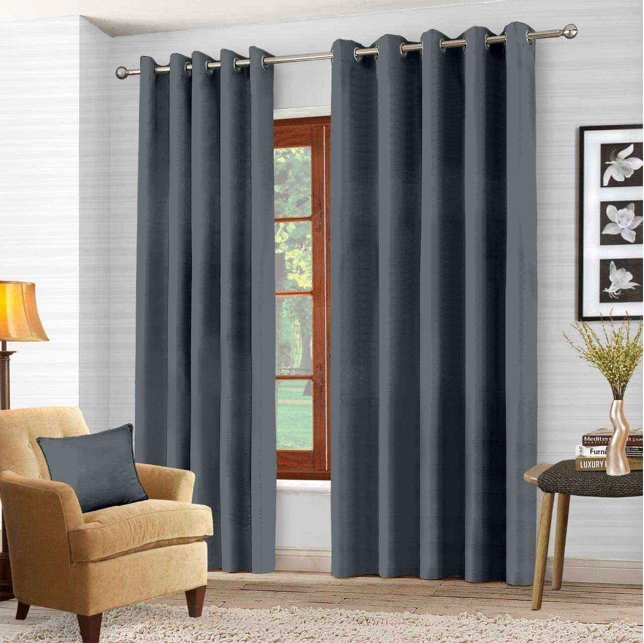EYELET RING CHARCOAL BLACKOUT PAIR CURTAINS POLYESTER WEAVED THERMAL READY MADE