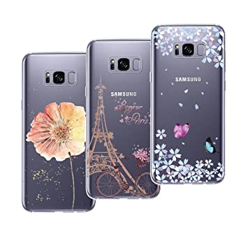 quality design dc9ef bdad3 Yokata [3 Pack] for Samsung Galaxy S8 Case Transparent Clear Soft Flexible  TPU Silicone Thin Slim Protective Shockproof Pattern Design Cases Covers -  ...