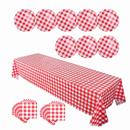OurWarm Checkered Plastic Tablecloth Paper Plates and Napkins Disposable Dinnerware Set Picnic Party Decorations Red  sc 1 st  Amazon.com & Amazon.com: OurWarm Checkered Plastic Tablecloth Paper Plates and ...