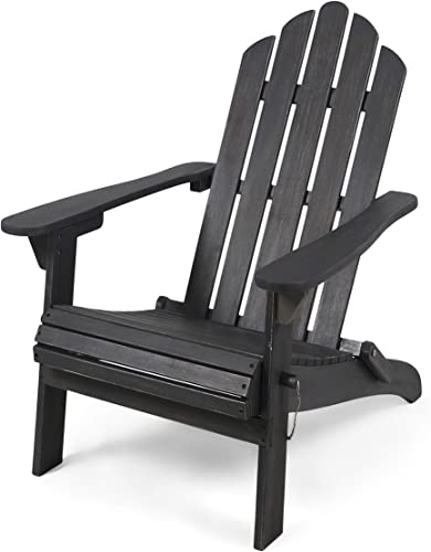 Christopher Knight Home 305376 Cara Outdoor Foldable Acacia Wood Adirondack Chair, Dark Gray Finish