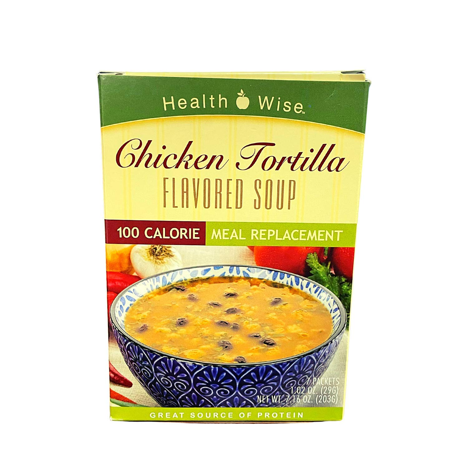 Healthwise - Chicken Tortilla Soup   7/Box   Healthy Nutritious Diet Soup   High Protein - Meal Rep[lacement - Low Fat - Low Sugar - 100 Calorie