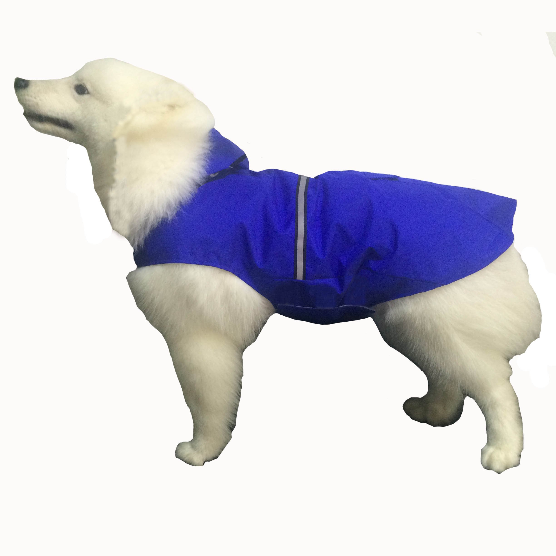 BONAWEN Reflective Dog Rain Coat with Pouch/Leash Hole for XL,L,M Pets(Blue,L)