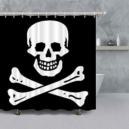 Amazon Minako Skull Shower Curtainblack And White Jolly Roger