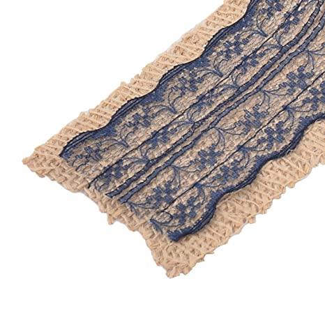 Amazon.com: Fiesta de la boda del borde del cordón eDealMax Decoración del arte de arpillera Rollo de Cinta 3.3 yardas Azul Marino: Health & Personal Care