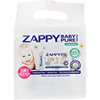 Zappy Baby Pure 30s Wipes Value Pack, 30 ct (Pack of 3)