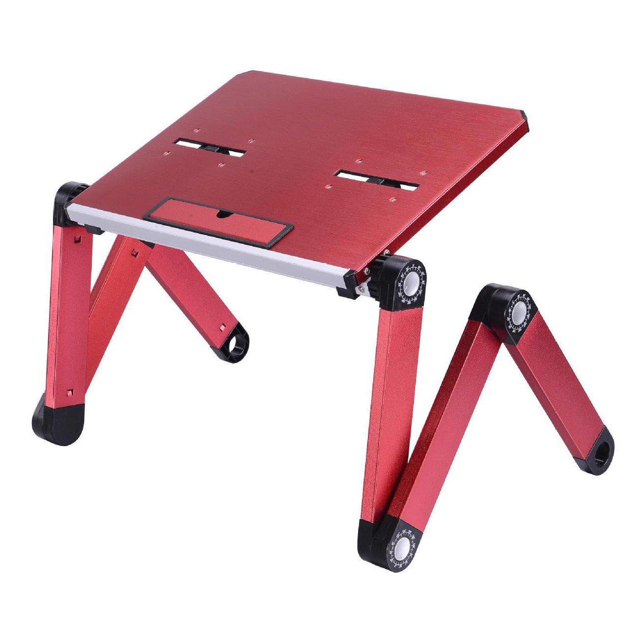 Qiaoba- Minimalist Aluminum Alloy Folding Computer Desk desks, Blue,50285.5CM
