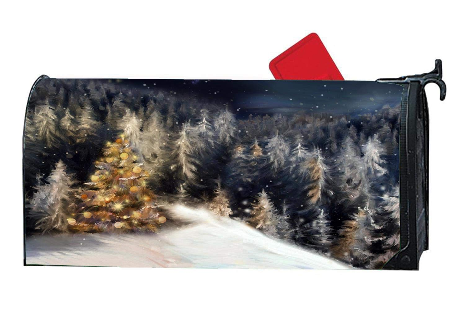 Beautiful Christmas Trees Mailbox Makover Cover - Vinyl with Magnetic Strips Mailbox Wraps Post Cover Standard Size 6.5\' x 19\'