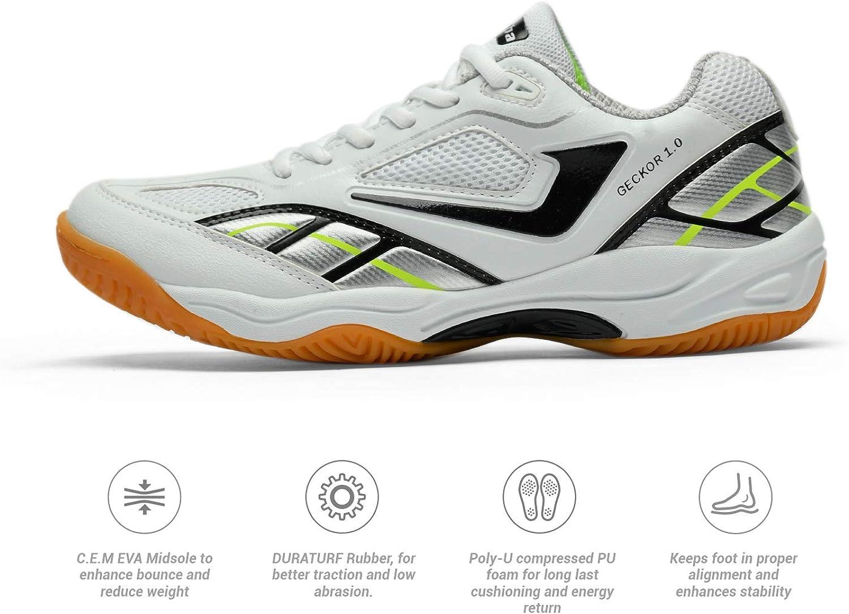 Jazba Bádminton Zapatillas Zapatillas para Cancha Cubierta Calzado Deportivo para Voleibol Squash Calzado para Correr Zapatos Antideslizantes Ligeros Respirables para Raquetbol - GECKOR 1.0: Amazon.es: Zapatos y complementos