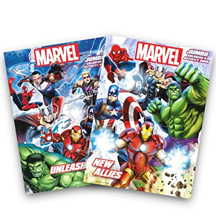 Marvel Heroes Avengers Jumbo Coloring And Activity Book Set 2 Books