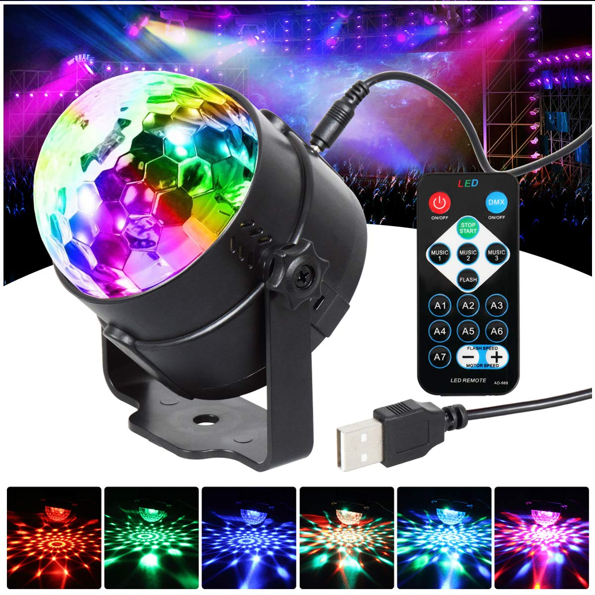Party Lights Disco Ball 7 Colors Sound Activated Stage Disco Lights Remote Control Strobe Lamp USB Plug in 5Vlaser Lighting LED Effect Show RBG Dance Ball Mood light For Birthday DJ Bar Pub Club Kara