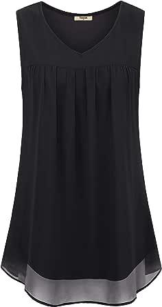 Timeson Women's Sleeveless V Neck Double Layers Chiffon Tanks Tops