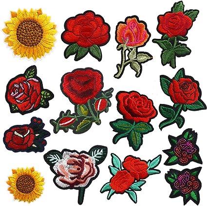 11 piezas de parche bordado de flores rosas para coser o planchar