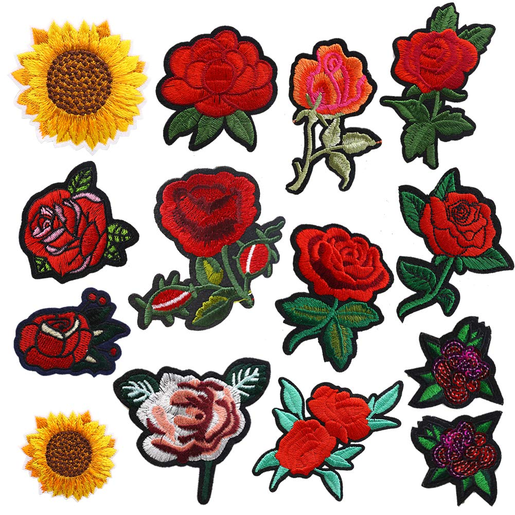 14PCS Flower Iron-on Patches, Embroidered Flower Rose Sew on Patch Applique Clothes Jackets Jeans Dress Hat DIY Accessory LoveInUSA