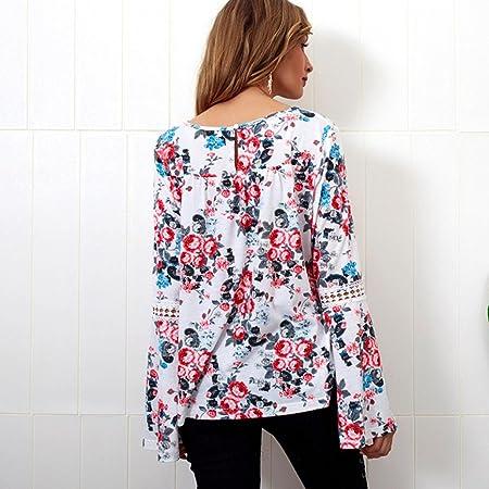 Mujer Blusa tops manga larga Bohemian estampado,Sonnena Las mujeres de moda ocasionales de manga larga de gasa con volantes de la blusa de la flor de ...