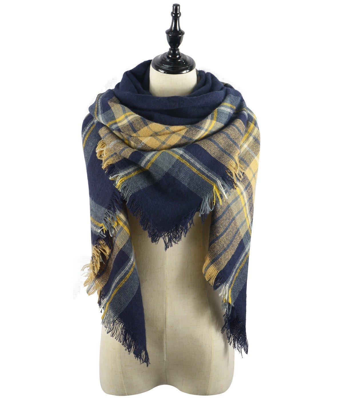 Women's Fall Winter Scarf Classic Tassel Plaid Scarf Warm Soft Chunky Large Blanket Wrap Shawl Scarves Yellow Navy