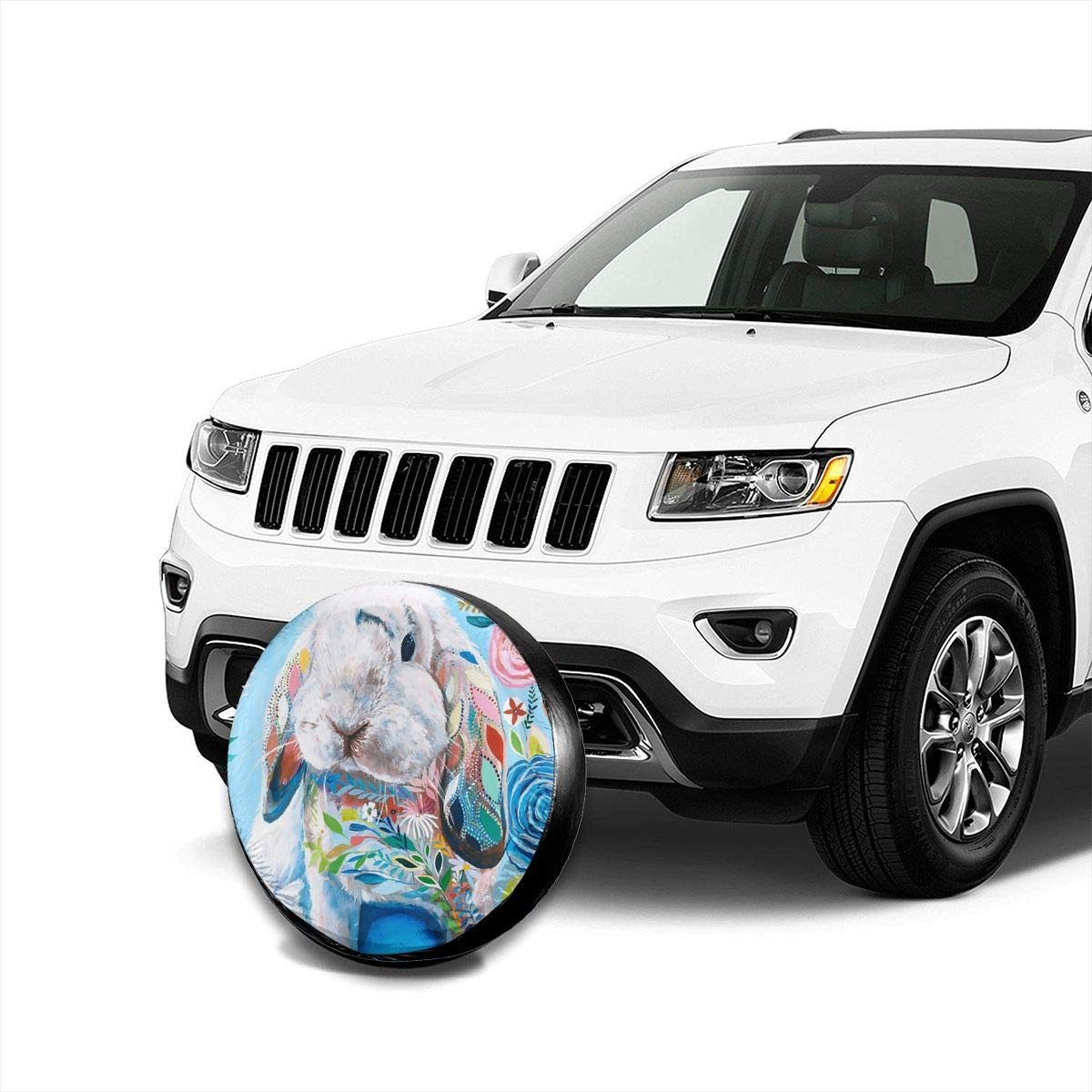 Fits Entire Wheel PecoStar Colourful Rabbit Spare Wheel Cover Printed Polyester Tire Guard Protector Cover For SUV RV Trailer Truck Wheel