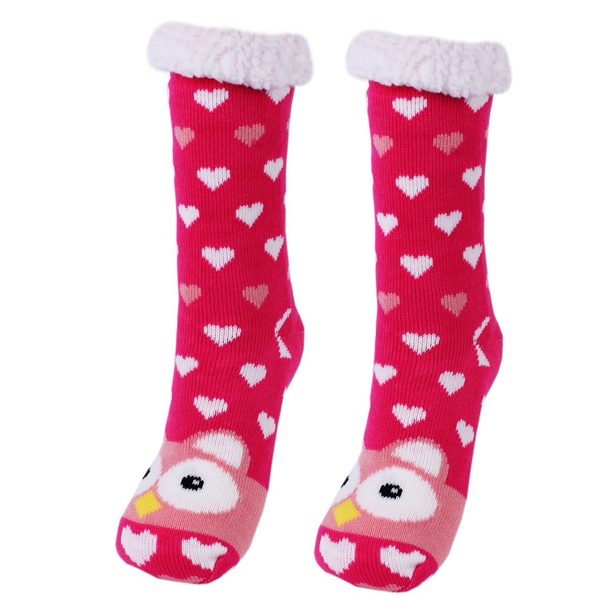 Amkun Womens Super Soft Cute Knit Cartoon Animal fuzzy Cozy Non-Slip Winter Slipper Socks