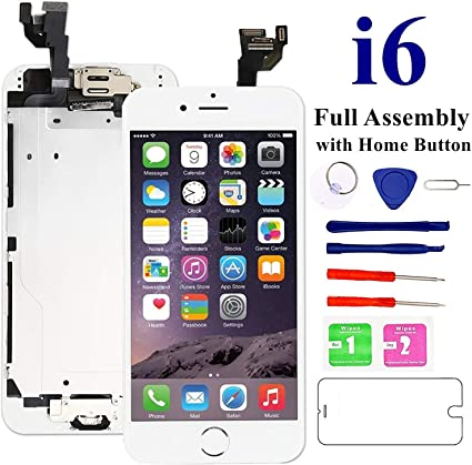 Amazon Com Nroech Screen Replacement For Iphone 6 White With Home Button Lcd Touch Screen Display Assembly Front Camera Ear Speaker And Sensors Repair Tools And Screen Protector