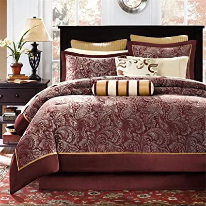 Amazon.com: 12 Piece Maroon Gold Luxury Paisley Pattern ...